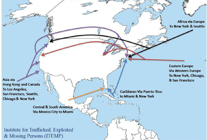 Map of North America and trafficking entry ports
