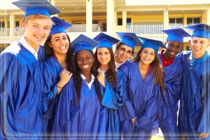 High School graduates, multi-ethnic friends